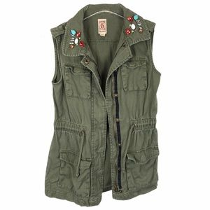 Decree Army Green Zip Up Jeweled Utility Vest